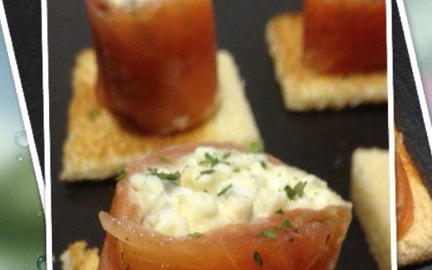 Canapé navideño: Rollitos de salmón con gulas y atún