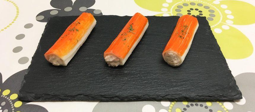 Canelones de surimi con bonito y anchoas