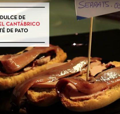 Tosta dulce de anchoas con paté de pato