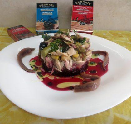 Tartar de ventresca de bonito con atún y bacalao