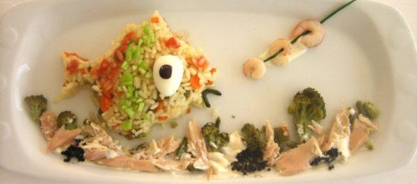 Divertida ensalada de arroz y cogote para niños