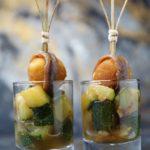 Aperitivo en vasitos: calabacín al romero, mozzarella rebozada y anchoas
