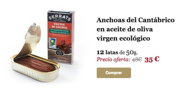 Anchoas del Cantábrico en aceite de oliva virgen ecológico