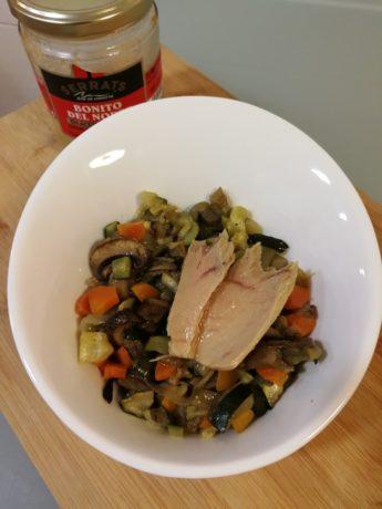Ratatouille de verduras al horno con Bonito del Norte