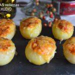 Canapé navideño: patatitas rellenas de atún y huevo