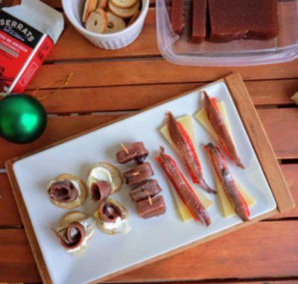 Canapés navideños fáciles con anchoas