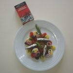 Ensalada de patata con sardinillas y pimientos tricolor