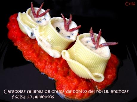 Caracolas rellenas de crema de bonito del norte y anchoas Serrats
