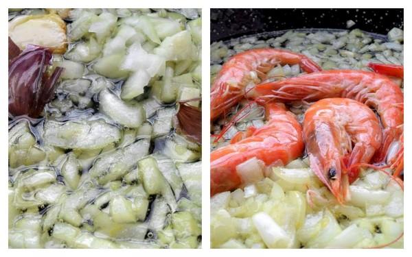 Cocinamos la cebolla, el ajo y los langostinos a fuego lento
