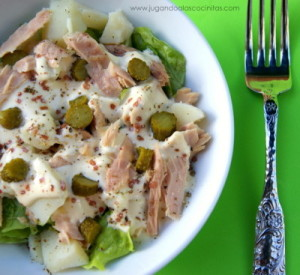 Ensalada especial con mayonesa de puerro