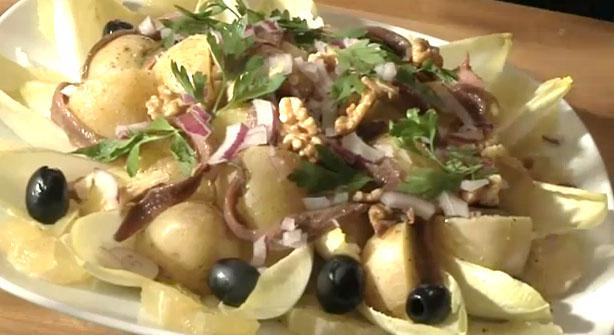 Ensalada de anchoas, patata y endivias