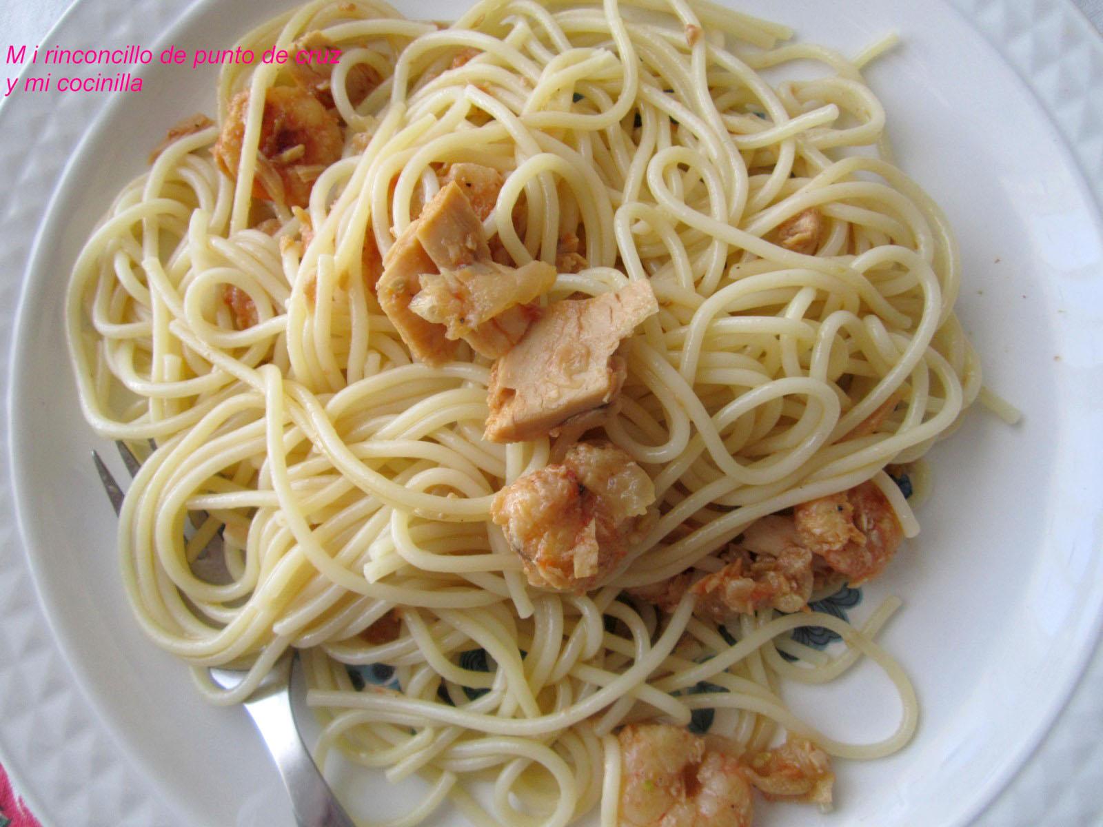 Espaguetis con bonito del norte