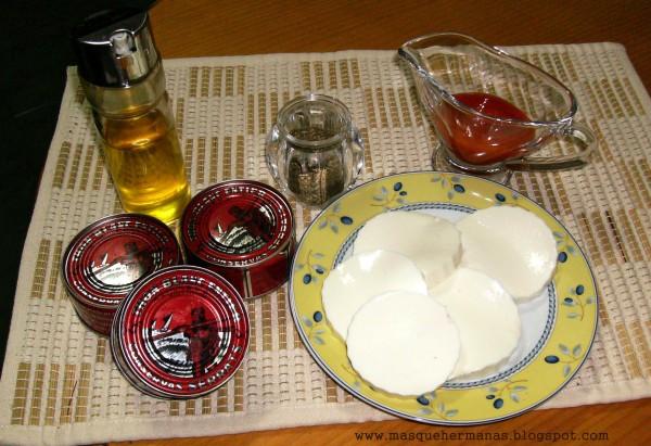 Ingredientes para milhojas de queso fresco y bonito del norte de Conservas Serrats