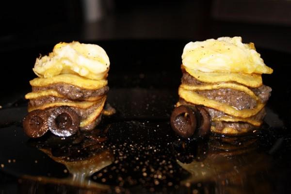 Milhojas de anchoas y patata