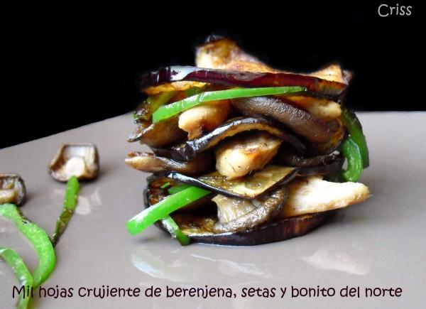 Milhojas crujiente de berenjena y cogote de bonito de Conservas Serrats