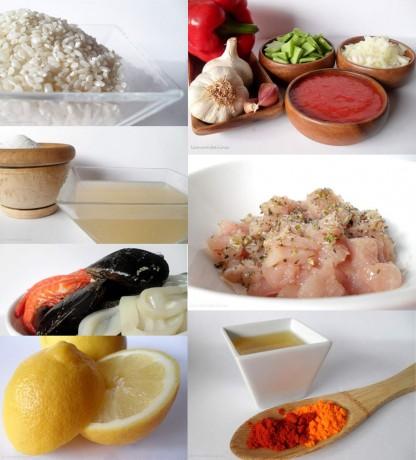 Mosaico ingredientes Paella con mejillones extra grandes de Conservas Serrats
