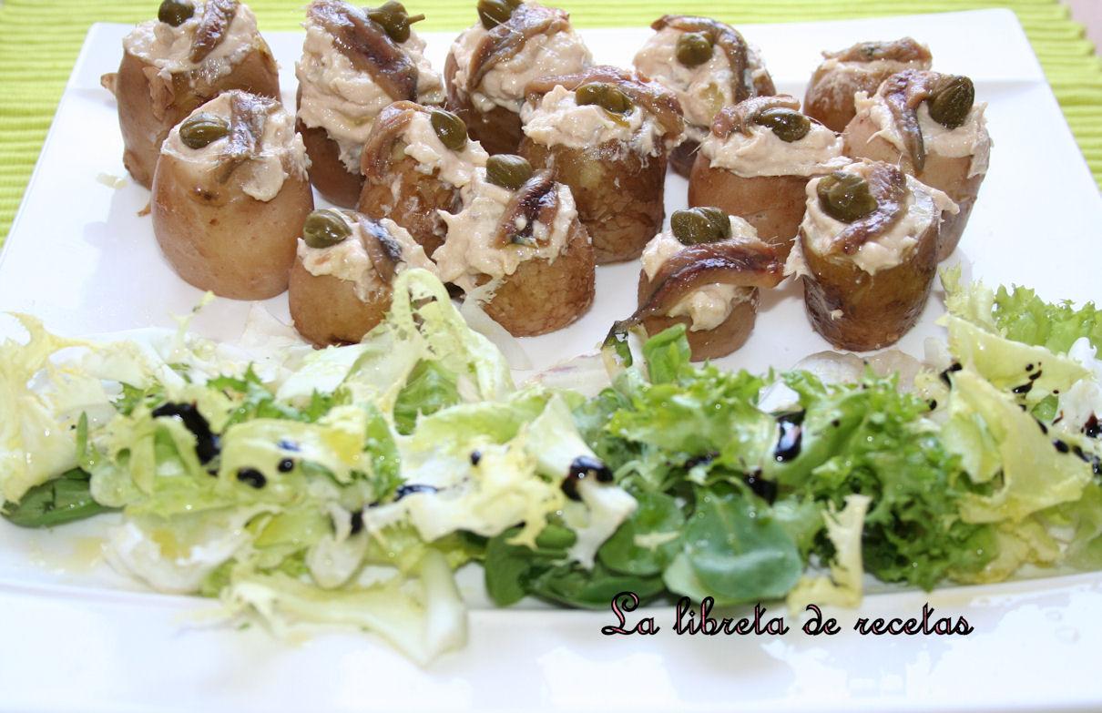 Patatitas con crema de anchoa del Cantábrico