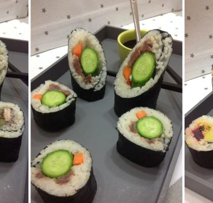 Canapés navideños: surtido de sushi de bonito, anchoas y mejillón