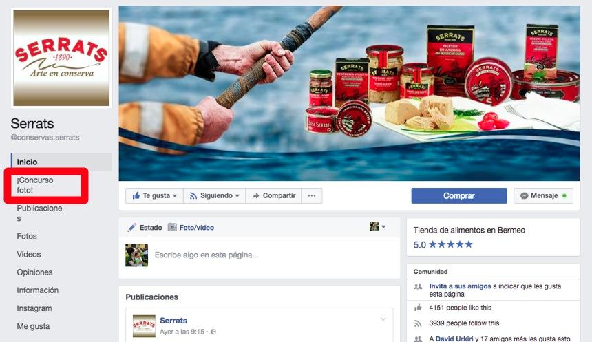 Concurso de fotografía en la página de Facebook de Conservas Serrats