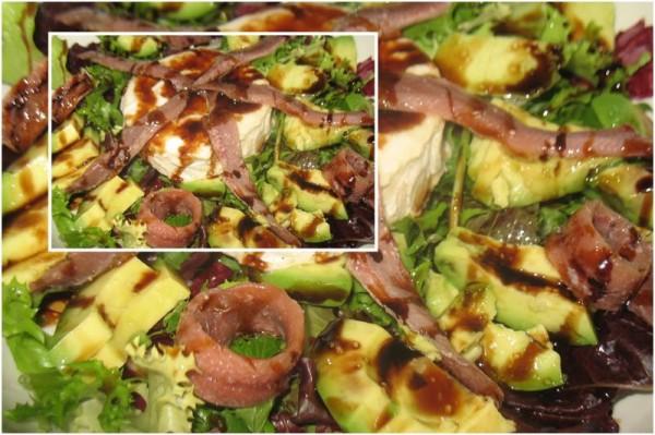Ensalada de anchoas, queso de cabra con vinagre al Pedro Jiménez