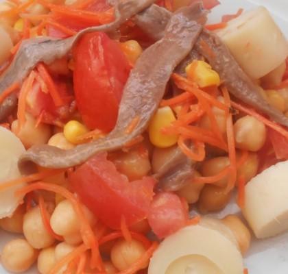 Ensalada de garbanzos con anchoas del Cantábrico