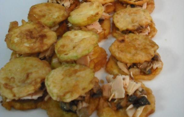Bocaditos de Bonito del Norte con calabacín y champiñones