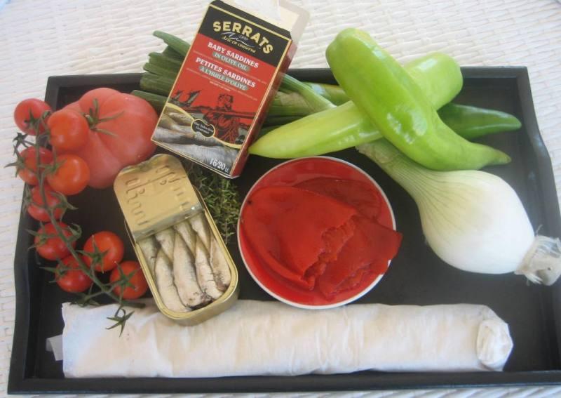 Ingredientes de los canapés de verduras y sardinillas