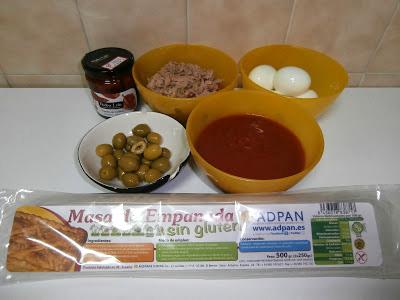 Ingredientes para la empanada sin gluten