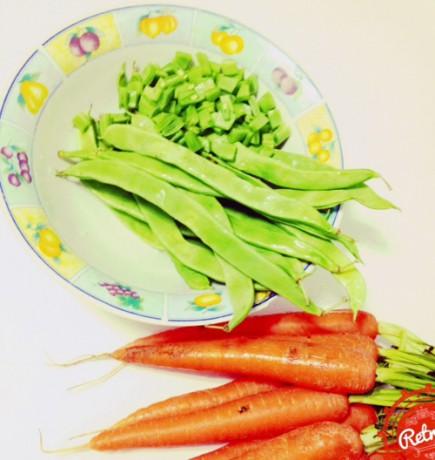 Zanahoria y judías verdes para la ensaladilla