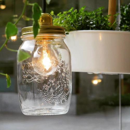 Lámpara con frasco de cristal