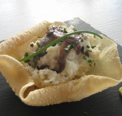 Receta de pappadums con anchoas del Cantábrico Serrats
