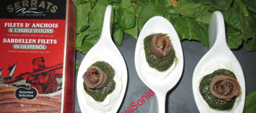Cucharillas de anchoas del Cantábrico al pesto