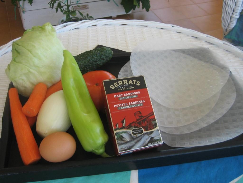 Ingredietnes para los rolitos de arroz con verdura y sardinillas