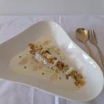 Sardinillas con ajoblanco y manzana confitada