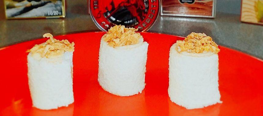 Canapés de Navidad: Sushi de pan blanco con Bonito del Norte