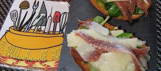 Tosta de anchoas y pera